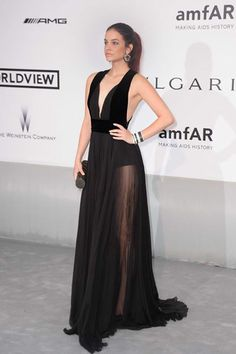 Barbara Palvin wears ELIE SAAB Ready-to-Wear Fall Winter 2014-15 to the amfAR Cinema Against AIDS Gala at the 67th Annual Cannes Film Festival.