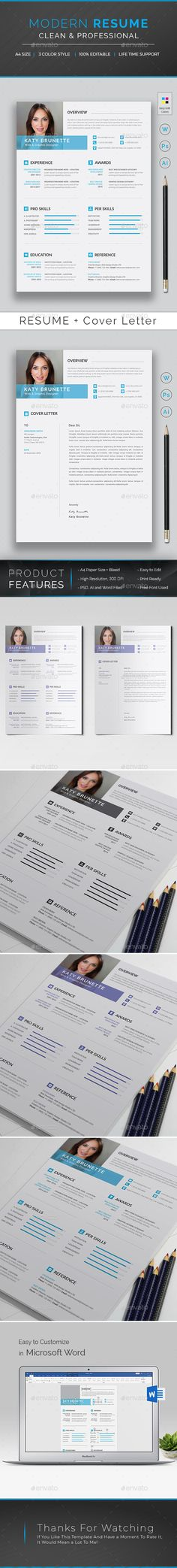 Professional, Modern and Clean Resume Template. Elegant page designs are easy to use and customize, so you can quickly tailor-make your resume for any opportunity and it will help you to get your desired job. Flexibilities of this Clean Resume Template: Best Resume, Resume Cv, Resume Design, Change Picture, Change Image, Stationery Templates, Resume Templates, Cv Template, Print Templates