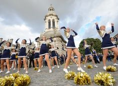Notre Dame cheerleaders in Dublin yesterday in preparation for the Notre Dame and Navy game which takes place at the Aviva stadium tomorrow.