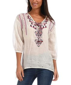 Off-White & Blue Embroidered V-Neck Tunic #zulily #zulilyfinds