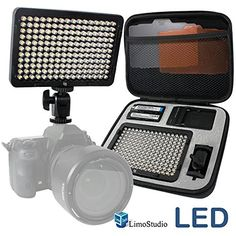 LimoStudio 176 pcs LED Light for DSLR Camera Camcorder Continuous Light, Battery and Charger, Hard Carry Case Photography Photo Video Studio, AGG1830