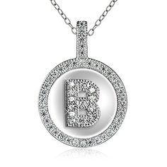 Sterling Silver Rhodium Plated Cubic Zirconia Initial Pendant Necklace 18 >>> Click image to review more details.