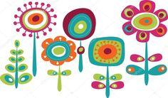 Fofos flores coloridas, ilustração vetorial infantil