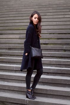 Navyblue cardigan, skinny jeans, Céline Trio bag and Filippa K ankle boots - teetharejade.com