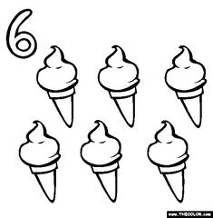 Free numbers Coloring Pages. Color in this picture of an Six (Ice Cream Cones) and others with our library of online coloring pages. Save them, send them; Kids Online, Free Online Coloring, 100 Free, Ice Cream, Artwork, Patterns, Sherbet Ice Cream, Block Prints, Patrones