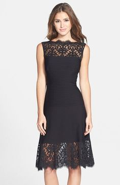 Free shipping and returns on Tadashi Shoji Lace Trim Pintuck Jersey Fit & Flare Dress at Nordstrom.com. Sultry peekaboo lace edged by scalloped eyelash fringe frames a pintucked jersey dress that stays perfectly fitted through the bodice before flaring into a deeply pleated A-line skirt.