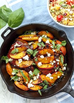 Skillet Balsamic Peach Pork Chops with Feta and Basil Peach Pork Chops, Balsamic Pork Chops, Juicy Pork Chops, Baked Pork Chops, Pork Chop Recipes, New Recipes, Healthy Recipes, Healthy Meals, Pork Meals