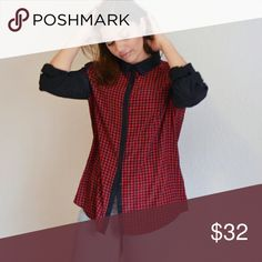 Chic Red & black print button up top Super Chic top has roll up sleeves. ELEMENTZ Tops Button Down Shirts