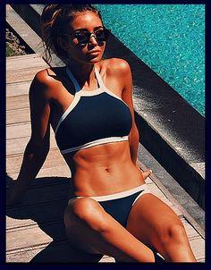 "HOT & Sexy Halter High Neck Crop Top Bikinis Swimsuit ""FREE SHIPPING"""