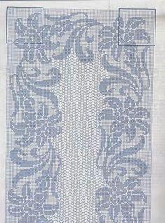 Ideas for embroidery designs border table runners Filet Crochet, Crochet Cross, Crochet Home, Thread Crochet, Crochet Doilies, Knit Crochet, Granny Square Crochet Pattern, Crochet Borders, Crochet Diagram
