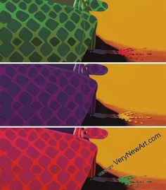 Python Poser von Ralf Metzenmacher. Dynamisch und direkt auf den Betrachter zu orientiert sich 'Python Poser' - das Auto im Python-Look. Nur an der Form des Außenspiegels kann man einen Porsche erkennen. Die Symbolik der Schlangenhaut bietet den Kontrast zu dem schnellen Sportwagen aus Zuffenhausen. #kunst #art #lithografie
