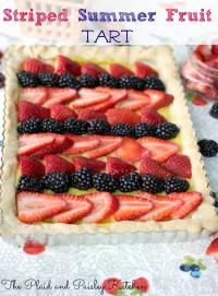 Striped Summer Fruit Tart is a delicious summer dessert for your next BBQ or summer party!!