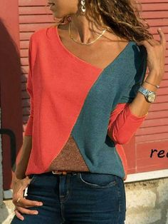158d85ef991 Stitching Contrast Color Round Neck Long Sleeve Casual T-Shirt Top –  boholooks