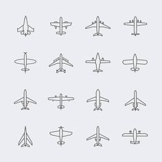 Airplane Illustrations, Royalty-Free Vector Graphics & Clip Art - Aviation thin line icons and linear aircraft planes vector signs vector art illustration - Airplane Doodle, Airplane Drawing, Airplane Art, Thin Line Tattoos, Mini Tattoos, Small Tattoos, Aviation Tattoo, Aviation Art, Aircraft Tattoo