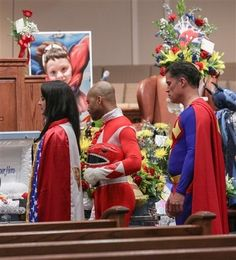 Batman, Superman, and other caped crusaders attended the funeral of 6-year-old Jacob Hall on Tuesday, a week after the first-grader was fatally shot at his South Carolina elementary school. | 6-Year-Old Victim Of Elementary School Shooting Had A Superhero-Themed Funeral - BuzzFeed News