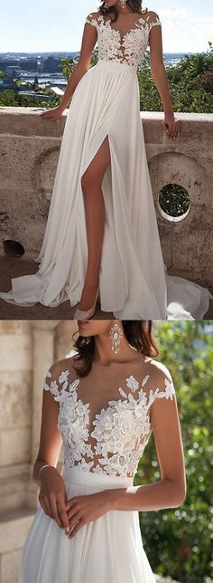 Ivory Lace Beach Wedding Dresses,Front Slit See Through Wedding Dress,Cap…