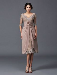 A-Line/Princess V-neck Hand-Made Flower 1/2 Sleeves Tea-Length Lace Mother of the Bride Dresses DressyWell
