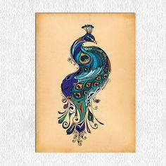 Peacock  11 x 14 PRINT by GreenGirlCanvas on Etsy, $20.00