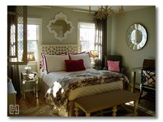 Inspiration for the master bedroom. Like the plain bedding with the printed blanket at the bottom of the bed