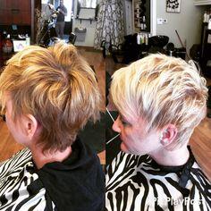 #blonde #pixie #wella #beforeandafter #hair #color