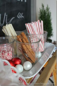 Hot Cocoa Bar for your holiday entertaining - Recipe for homemade marshmallows. Cinnamon sticks, crushed peppermint sprinkles, peppermint & vanilla stirrers also make great accompaniments / Kimberly Hites