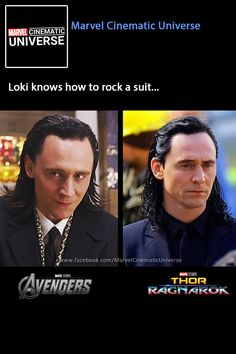 """Loki knows how to rock a suit... "" https://www.facebook.com/MarvelCinematicUniverse/photos/a.255014641181782.86037.217181691631744/1456301037719797/?type=3&theater"
