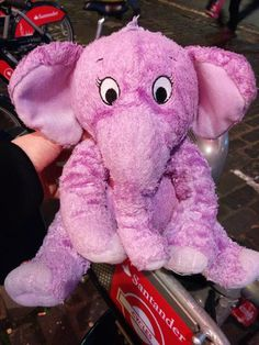 Found on 10 Nov. 2015 @ London W1D 5NG. Pink/purple cuddly toy elephant from Kohls, name on label is Isabel Zhang Visit: https://whiteboomerang.com/lostteddy/msg/qofclt (Posted by Em on 10 Nov. 2015)
