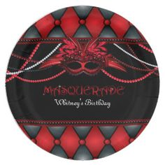 Masquerade, Red & Black Party 9 Inch Paper Plate