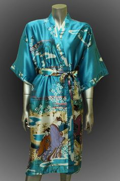 Bridesmaid Silk Robes Perfect Teal Painting Japanese geisha girls Design Gown Robe  ( Free Size). $21.59, via Etsy.