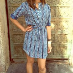 3/4 ROLL TAB SLEEVE PRINTED DRESS *SOLD* An adorable Aztec printed dress with a belt. Great to throw on when you don't know what to wear but still want to look cute and comfy! :)  doesn't have a size tag but fits like a small. Blue Bayou Dresses