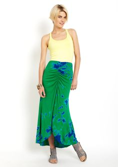 LANGUAGE Tie-Dye Maxi Skirt with front slit. in Peacock. HELLA CUTE.
