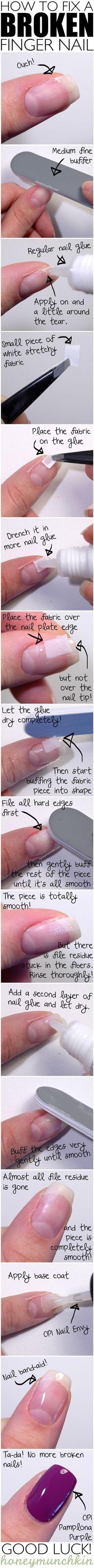 """O neeeeeeee een gebroken nagel! Leer in deze Engelstalige tutorial hoe je deze kunt """"repareren"""" (nagel EHBO) >>> DIY HOW TO FIX A BROKEN NAIL"""