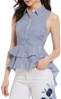 Shop for Gianni Bini Leslie Tiered Ruffle Peplum Hem Novelty Shirting Stripe Blouse at ShopStyle. Blouse Styles, Blouse Designs, Moda Zara, Modern Outfits, Short Tops, Western Outfits, Look Fashion, Gianni Bini, Ideias Fashion