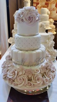 Wedding cake with crystals and handmade roses - House of Elegant Cakes