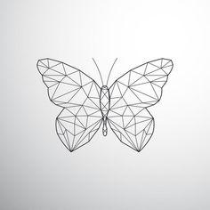 Cute Tiny Tattoos, Mini Tattoos, Body Art Tattoos, Tattoo Drawings, Geometric Flower, Geometric Art, Geometric Tattoo Butterfly, Armband Tattoo Design, Tattoo Designs
