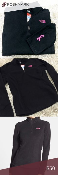 North Face Breast Cancer Awareness Pullover Lightweight North Face Black Fleece Pullover with pink The North Face logo and a pink ribbon on outside of left sleeve. 1/4 zip. Size medium. Feel free to ask questions! 💖 The North Face Jackets & Coats