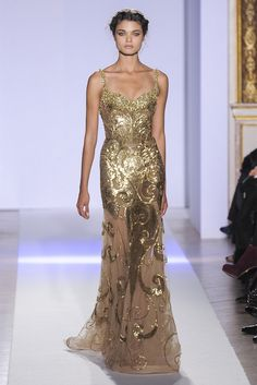 Dress with gold swirls by Zuhair Murad
