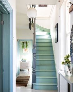 """by Sofie + DIY Derek 📍T Wells on Instagram: """"Daydreaming of green stairs 🤩 like these mega beauties @andreacurtisdesigns Hi guys it's me 👋, a massive thank you for all the lovely…"""" Painted Staircases, Painted Stairs, Painted Floors, Spiral Staircases, Style At Home, Hallway Ideas Entrance Narrow, Modern Hallway, Stairs And Hallway Ideas, Entryway Stairs"""