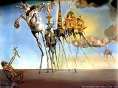 La Tentation de saint Antoine (1946)  Huile sur toile 89,7×11,5 cm,  Salvador Dali