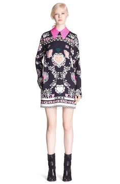 MSGM - heart print shift dress with contrast collar | Nordstrom