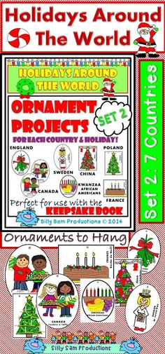 SET 2: 7 Countries or Holidays! Holidays Around the World ORNAMENT PROJECTS! Great addition to the Holidays Around the World KEEPSAKE BOOK from Silly Sam Productions! $
