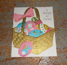 Vintage Card Easter Hallmark Mother & Father Basket by TheBackShak, $3.00