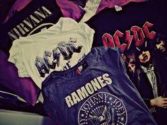 Band Tees -♡♡♡♡♡ I got the nirvana and Ramones shirt. I'd love a ac/dc shirt