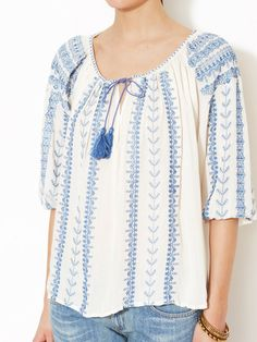 Avaleigh Embroidered Peasant Top