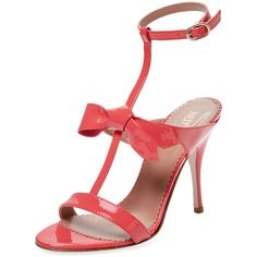 RED Valentino Women's Patent Leather T-Strap Sandal - Pink - Size 35 (€235) ❤ liked on Polyvore featuring shoes, sandals, pink, ankle wrap sandals, wrap around sandals, pink high heel sandals, high heel sandals and pink high heel shoes