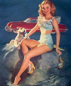 Bill Medcalf She's cooling off and my temperature is rising. Is it supposed to be any other way? This painting was probably on a NAPA calendar.