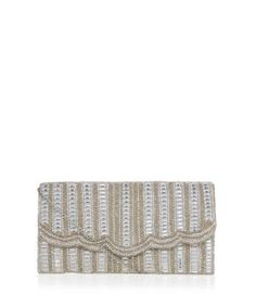 Cream Embellished Stripe Scalloped Edge Clutch. New Look £19.99