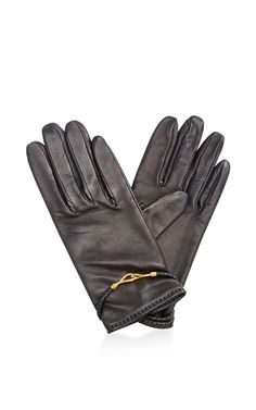 Hermes Black Lambskin H-Buckle Gloves by What Goes Around Comes ...