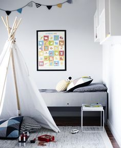 Black and white with pops of colour #kidsroom
