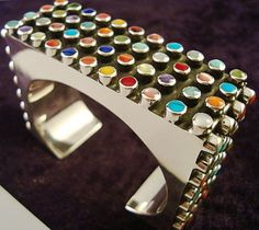 Taxco Mexican Sterling Silver Multi Inlay Beaded Bead Cuff Bracelet Mexico | eBay